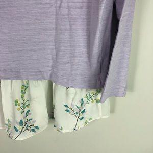 LOFT Tops - LOFT Lavender Floral Layered Top Skirted Hem 302